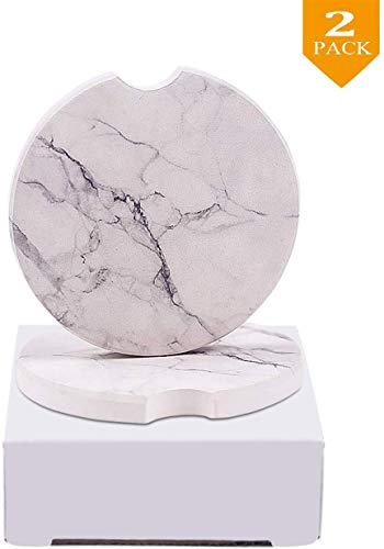 NA JLSPRT 2-Piece Car Coasters White Marble Ceramic Car Cup Holder Coasters Absorbent for Drinks -...