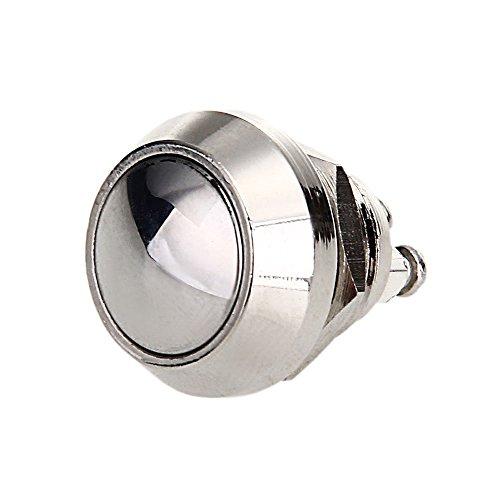 Gesh Interruptor de botón de reinicio de 3 A, 12 mm, chapado en níquel, cobre