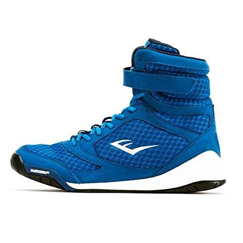Everlast New Elite High Top Boxing Shoes - Black, Blue, Red (6, Blue)