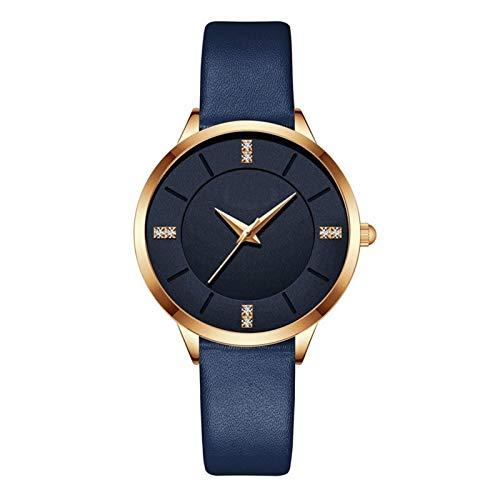 JCCOZ-URG Reloj de pulsera de cuarzo reloj de las mujeres a estrenar superiores de las mujeres de lujo a prueba de agua ultra-delgado de piel casual de las señoras de los relojes del reloj (azul) JCCO