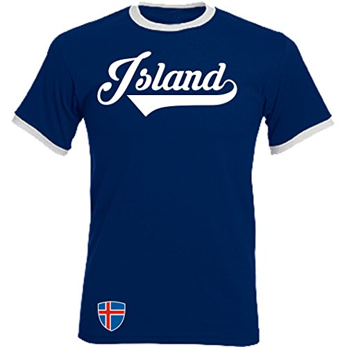 Island Ringer Retro TS - Navy - WM 2018 T-Shirt Trikot Look (L)