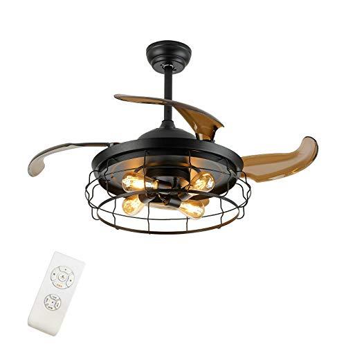 Vintage Deckenventilator Beleuchtung Fan LED Licht mit Fernbedienung 42 Zoll