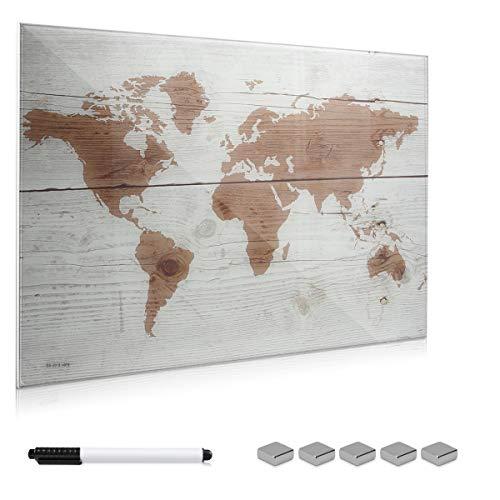 Navaris Magnettafel Memoboard aus Glas - Magnetwand 90x60 cm zum Beschriften - Magnetische Tafel inkl. Magnete Stift Halterung - Weltkarte Design