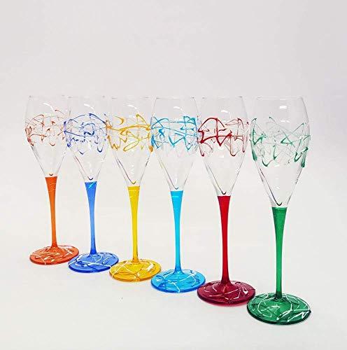 Set von 6 Proseccogläser Jazz cl. 22,5 monocolour von Hand bemalt Glas, Murano Venedig Stil