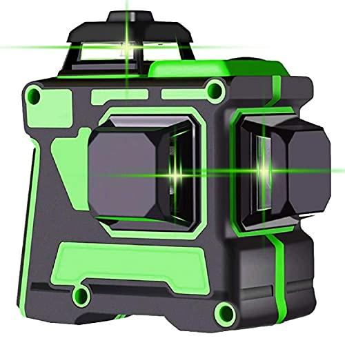 Nivel Láser Verde 12 lineas Línea Láser Cruzada 3x360 360 Grados Horizontales Verticales Autonivelantes con Batería Líneas de Niveles Láser de Modo de Pulso Tuerca de 1/4 '