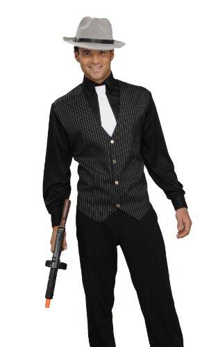 Forum Novelties Men's Gangster Shirt, Vest and Tie Costume - Medium Black/White