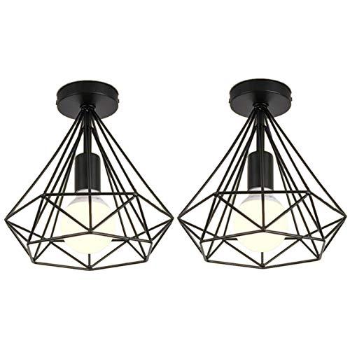 Vasko - Lámpara de techo industrial con forma de jaula de diamante, 2 unidades, color negro