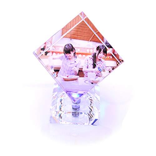 Cubo personalizado de cristal 3D para fotos Cristal personalizado Cubo de Rubik Cubo 3D Cubo de cristal Luces LED - Personalizar 3 fotos