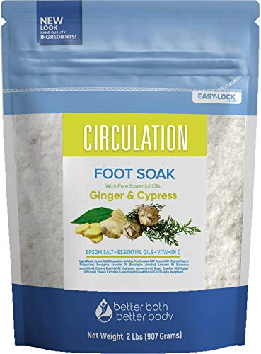 Circulation Foot Soak 32 Ounces Epsom Salt with Natural Ginger, Cypress, Eucalyptus, and Lavender Essential Oils Plus Vitamin C in BPA Free Pouch with Easy Press-Lock Seal