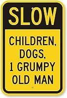 取り付けが簡単なプレドリル穴遅い子供犬不機嫌そうな老人ヘビーデューティ63 milインチハーティ、ガレージの取り付けが簡単な屋内および屋外での使用のためのヴィンテージルック再現アルミニウム金属看板