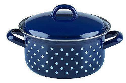 Riess, 0128-075, Kasserolle mit Deckel, COUNTRY - DIRNDL, Durchmesser 16 cm, Höhe 12,3 cm, Inhalt 1,0 Liter, Emaille, blau/weiß