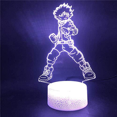 Lámpara de ilusión 3D LED Base de luz Nocturna My Hero Academia Deku Midoriya Izuku 7 Color con el Control Remoto de la decoración de USB de Uso Remoto Festival