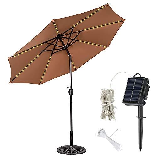 Welltop Luci per ombrelloni da giardino, luci per ombrelli solari per esterni impermeabili 8 rami 104 LED per tende da campeggio per ombrelloni, bianco caldo