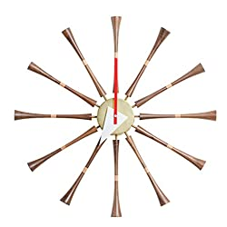 Emorden Furniture Classic Wall Clock George Nelson Spindle Clock(Brown), Atomic Wooden Wall Clock Mid Century Handmade Antique Retro Nelson Style