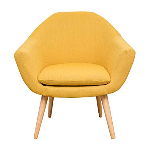GAXQFEI Girl Accent Chair Modern Linen Fabric Armchair Ocnal Recliner Chair with Solid Wood Legs Upholstered Reception Chair Dining Living Room Bedroom Lounge Office Single Sofa Niture,Yellow