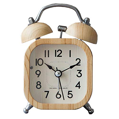 XNZ Wooden Non Ticking Bedside Alarm Clock, Battery Operated Desk Clock, Stereoscopic Dial Clock, Classic Metal Twin Bell Analog Alarm Clock with Loud Alarm Nightlight for Bedroom