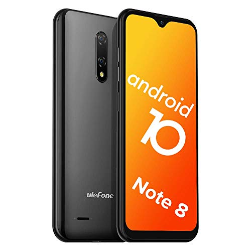 Teléfono Móvil Libre, Ulefone Note 8 Android 10 3G Smartphone Libre, 2GB RAM 16GB ROM (128GB SD) Smartphone, Pantalla 5.5' Water-Drop Screen Movil, 5MP + 2MP + 2MP, Dual SIM, Face ID, GPS (Negro)