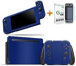 Kit Skin Adesivo Protetor Nintendo Switch + Película de Vidro (Azul Escuro)