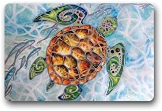 ZMvise Rubber Custom Sea Turtle Non-Woven Fabric Multifuntional Doormat Carpet 18 x 30 inch