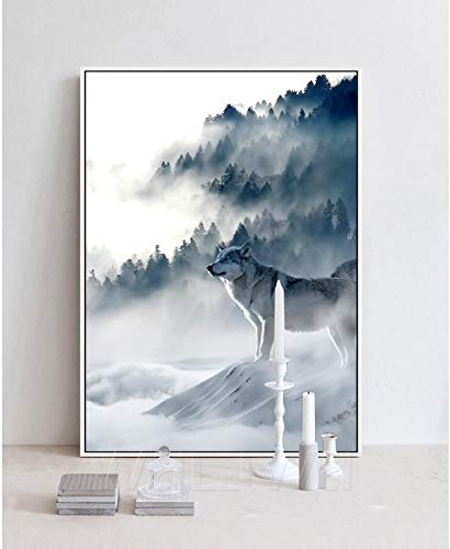 Nordic Art Canvas Poster Picture Art Wolf Snow Mountains Minimalist Print Nature Modern Home Room Decoration-40x60cm No Frame