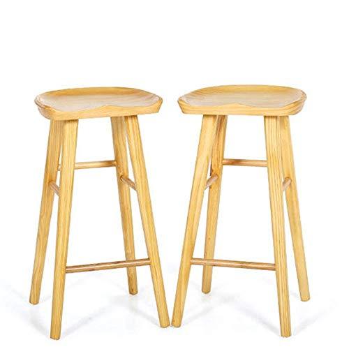 BJLWTQ Bar sedia di legno insieme di 2 Moderna Style Bar Sgabelli sedia Pianale da cucina Colazione Sgabello (Colore: Legno, Size: 39 * 40 * 75cm)