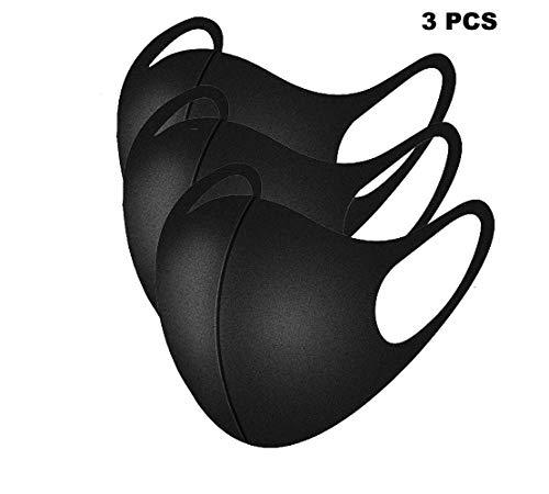 Máscaras bucales unisex de 3 piezas Máscaras faciales antipolvo ajustables, máscaras faciales de algodón negro para ciclismo, camping, viajes - 100{6db1eec18ac1a759b62b26c6eabebd747fb6d79fe6d2e7fb9e79f2b6c4ae0d3d} algodón, máscaras de tela reutilizables y lavables