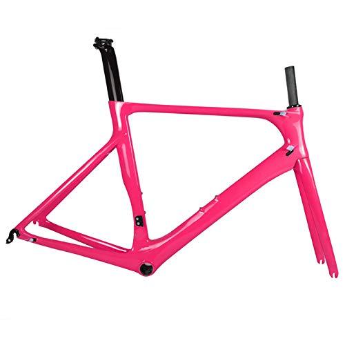 Vollcarbon Rennrad Rahmen DI2 und Carbon Rennrad Maschinen BB86 50.5/53/56 cm 2 Jahre Garantie (Pink),50.5cm