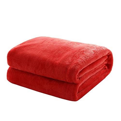 Mixibaby Kuscheldecke Flauschige extra weich & warm Wohndecke Flanell Fleecedecke, Falten beständig/Anti-verfärben als Sofadecke oder Bettüberwurf, Größe:150 cm x 200 cm, Farbe:Rot