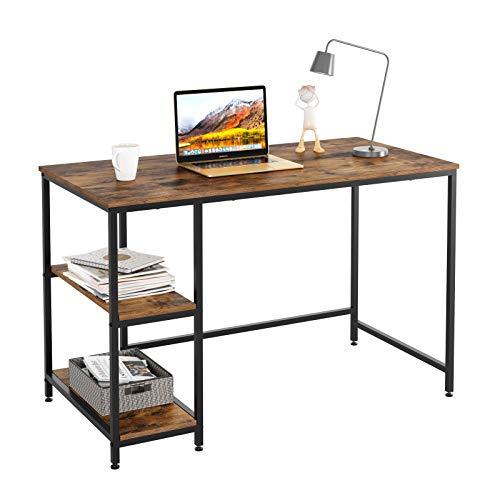 Mesa de Estudio Industrial con 2 estantes, Escritorio de Escritura, estación de Trabajo Simple, Soporte para Ordenador portátil, 120 x 60 x 76 cm