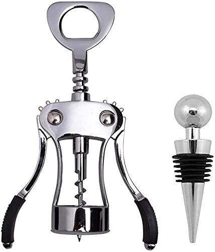 Tovee Upgrade Wing Corkscrew Wine Opener with Wine Stopper, Waiters Corkscrew Cork and Beer Cap Bottles Opener Remover, Christmas and All Holiday Gift Choice