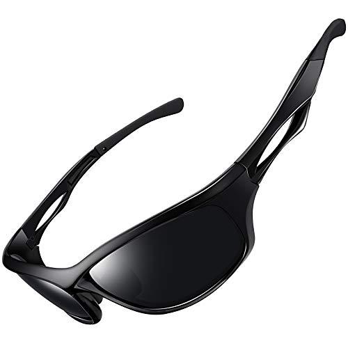 Joopin Gafas de Sol Deportivas Polarizadas para Hombre Mujer con Protección UV 400 Gafas de Ciclismo, Conducción Nocturna, Golf y Deportes al Aire Libre Brillante Negro