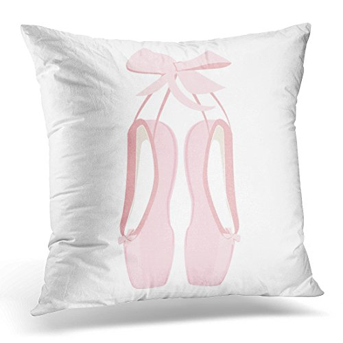 Sdamas Decorative Pillow Cover Ballerina Hanging Pink Ballet Pointe Pointes Shoes Slipper Throw Pillow Case Square Home Decor Pillowcase 16x16 Inches