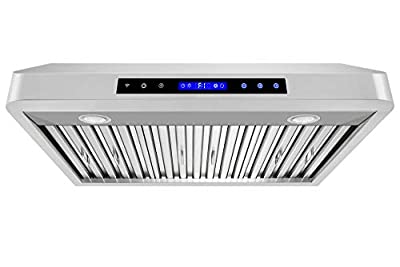 "XtremeAir PX10-U30, 30"", LED Lights, Baffle Filter W/Grease Drain Tunnel, 1.0mm Non-Magnetic Stainless Steel, Under Cabinet Mount Range Hood"