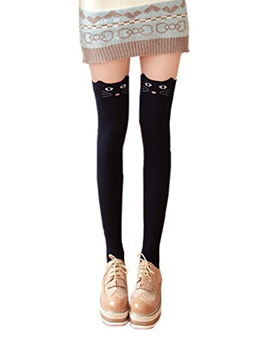 DELEY Damen Mädchen Overknee Überknie Kniestrümpfe Socken Zeichentrickfilm Stretch Schenkel Hoher Strumpf Marine Blau Katze