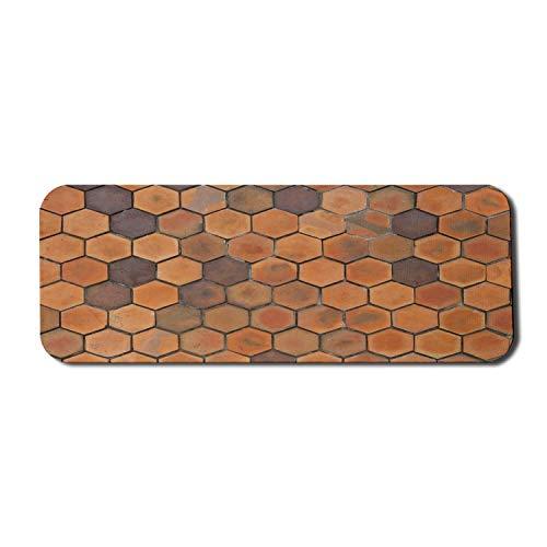 Ton Computer Mouse Pad, monochromatische abstrakte geometrische hexagonale Schlamm Waben Terrakotta Fliesen Muster, Rechteck rutschfeste Gummi Mousepad große blasse Zimt