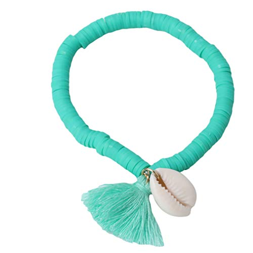 ZYYXB Pulsera elástica para mujer con diseño de concha blanca, con colgante de borla bohemia, para mujer, pulseras de playa, regalos de joyería de vacaciones (tipo 2)