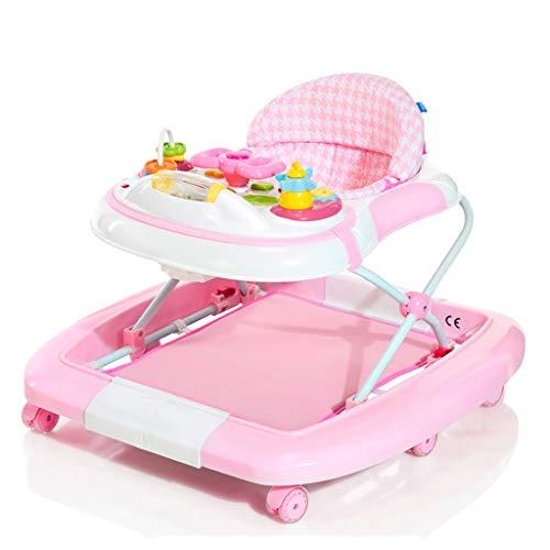 Baby Walker Kids Multifonctionnel Anti-Rollover 6-12/18 Mois Bébé Enfant Chaise À Manger Chaise À Bascule Variable FANJIANI (Couleur : Rose)