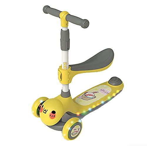 PTHZ Scooter de 3 Ruedas para niños 2-12 años de Vespa Plegable con Asiento Desmontable, 4 Alturas Ajustables, con 3 Ruedas iluminadas, niños y niños pequeños,Amarillo