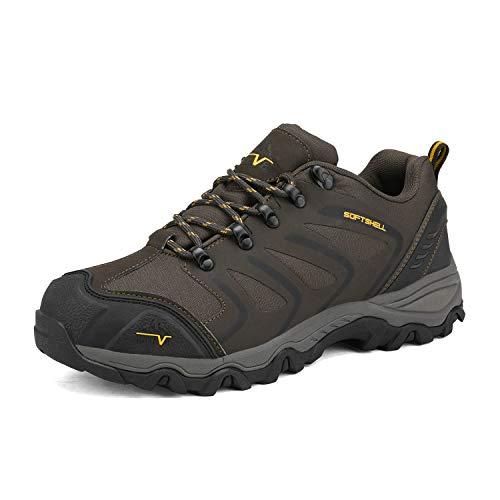 NORTIV 8 Men's Low Top Waterproof Hiking Shoes Outdoor Lightweight Backpacking Trekking Trails 160448-low Brown Black Tan Size 8 M US