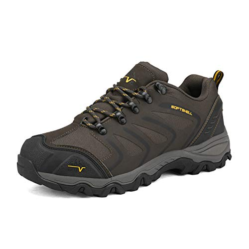 NORTIV 8 Men's Low Top Waterproof Hiking Shoes Outdoor Lightweight Backpacking Trekking Trails 160448-low Brown Black Tan Size 9.5 M US