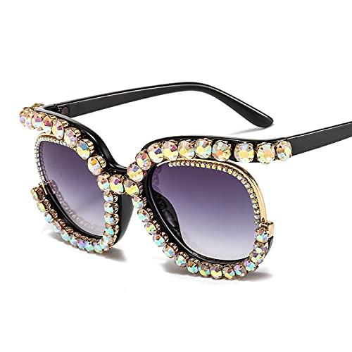 XINMAN Gafas De Sol De Moda con Tachuelas De Diamantes, Gafas De Sol De Media Montura con Personalidad, Tiro Callejero De Moda, Gafas De Sol con Sombrilla, Champán
