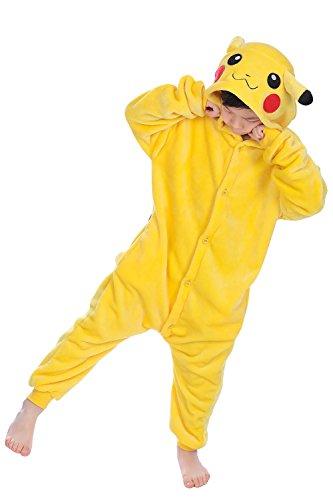 "Dolamen Enfant Unisexe Kigurumi Combinaison Pyjama Onesies, Fille Garçon Fleece Anime Cosplay Halloween Noël Fête Costume Soirée de Déguisement Vêtement de nuit (130-140CM (51 ""-55""), Pikachu)"