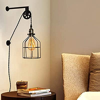 Industrial Wall Sconce with Wire Cage, Rustic Wall Lamp with Plug-in Cord, Vintage E26 Base Metal Wall Light Fixture Lift Pulley Lighting Retro Farmhouse Decoration for Bedrooms Living Room(No Bulb)