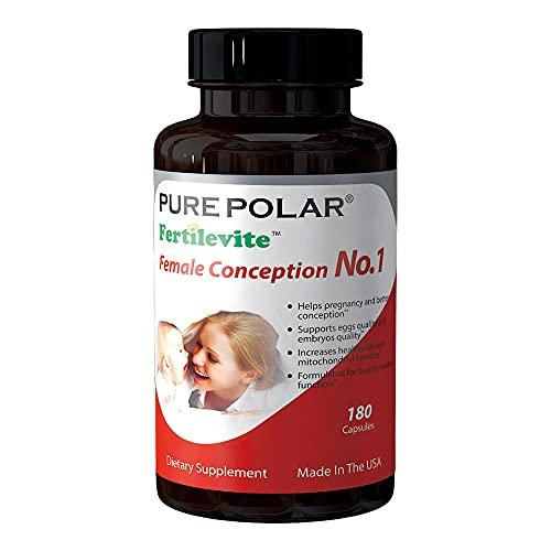 Conception Fertility Prenatal Vitamins – Regulate Your Cycle, Balance Hormones, Aid Ovulation – Myo-Inositol, Vitex, Folate Folic Acid Pills Pure Polar Female Conception No.1
