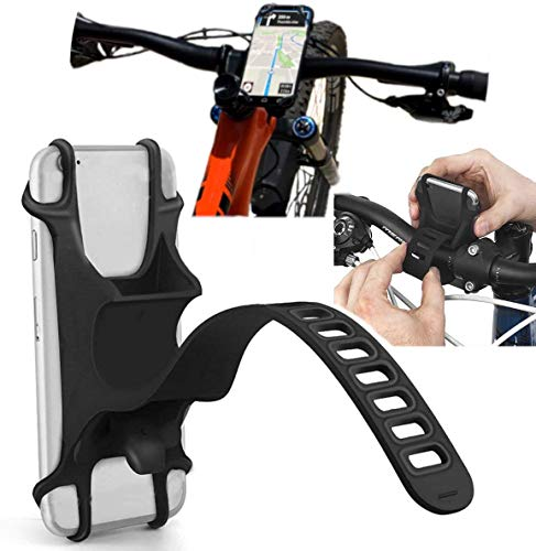 Phone Holder for Bike, Silicone Universal Bike Phone Mount, for Motorcycle Phone Holder Mountain Bike Accessories Fits for iPhone 11 Pro Max/XR/XS Max/8/7/ 6/6s Plus, Galaxy S20/S9, 4.0