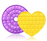 2PCS Push Pop Bubble Sensory Toy - Fidget Toys, Pop Game, Press The Button can be Used to Relieve Anxiety and Stress of Silicone Toys, Squeeze Sensory Toys - Yellow Heart+Purple Hollow Circle