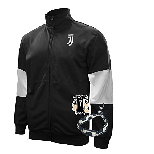 icon sports Compatible with juventus jacket track for boys youth and mens adults black winter soccer new season official licensed set JV013 (M, ADULTS BLACK JACKET)