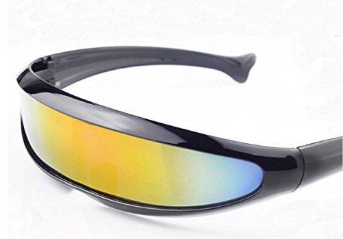 Futuristic Cyclops Shield Sunglasses For Cosplay Mirrored Lens Visor Narrow Cyclops Novelty Party Shield
