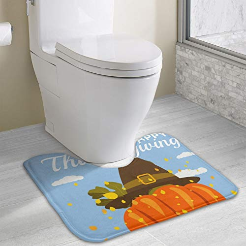 Happy Thanksgiving Celebration with Cartoon Pumpkin Area Rugs Toilet mat U Type pad Thicken Non-Slip Floor mat Bathroom Absorbent pad Fashion Home Decoration
