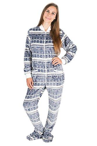 Kajamaz Silber-Weihnacht Strampler für Erwachsene mit Füßlingen, einteiliger Schlafoverall aus Fleece, Einteiler für Erwachsene, Unisex-Fleece-Schlafanzug (L)